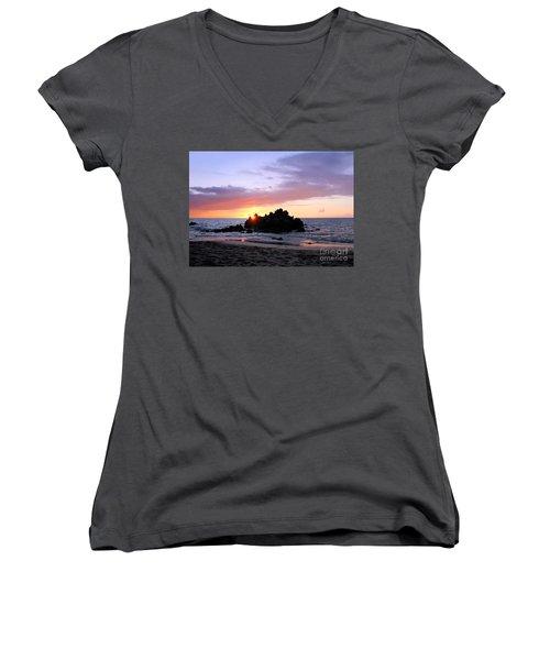 Women's V-Neck T-Shirt (Junior Cut) featuring the photograph Hali A Aloha by Ellen Cotton