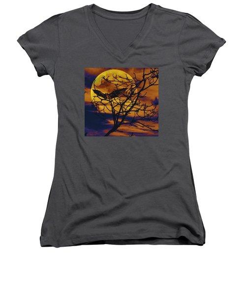 Halloween Full Moon Terror Women's V-Neck T-Shirt (Junior Cut) by David Mckinney