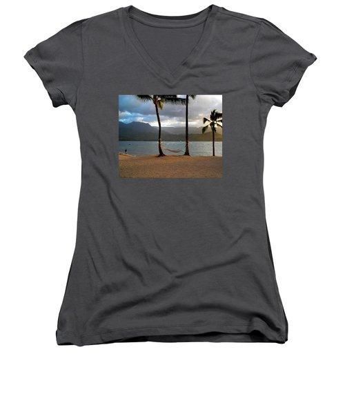 Hammock At Hanalei Bay Women's V-Neck T-Shirt (Junior Cut) by James Eddy
