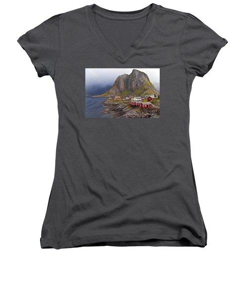 Hamnoy Rorbu Village Women's V-Neck T-Shirt
