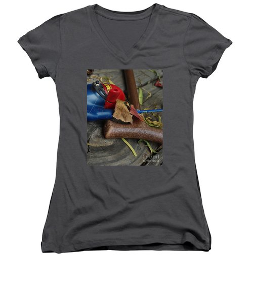 Handled With Care Women's V-Neck T-Shirt (Junior Cut) by Peter Piatt