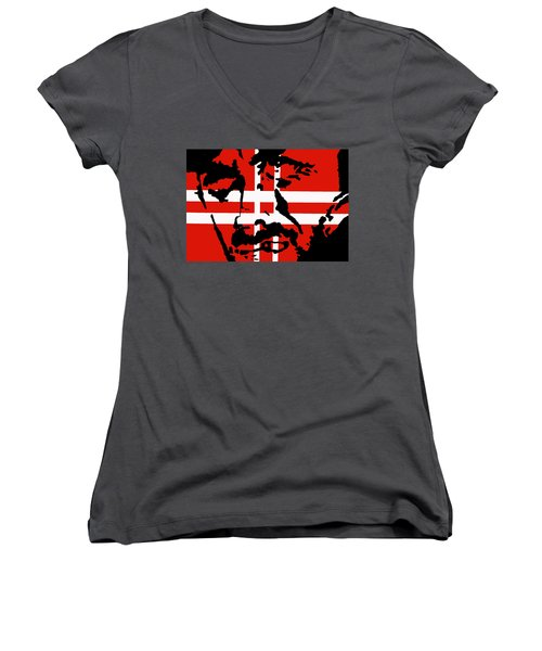 Women's V-Neck T-Shirt (Junior Cut) featuring the painting Hang Them High by Robert Margetts
