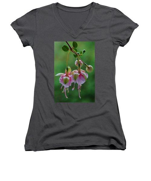 Women's V-Neck T-Shirt (Junior Cut) featuring the photograph Hanging Fuschia by Debra Martz