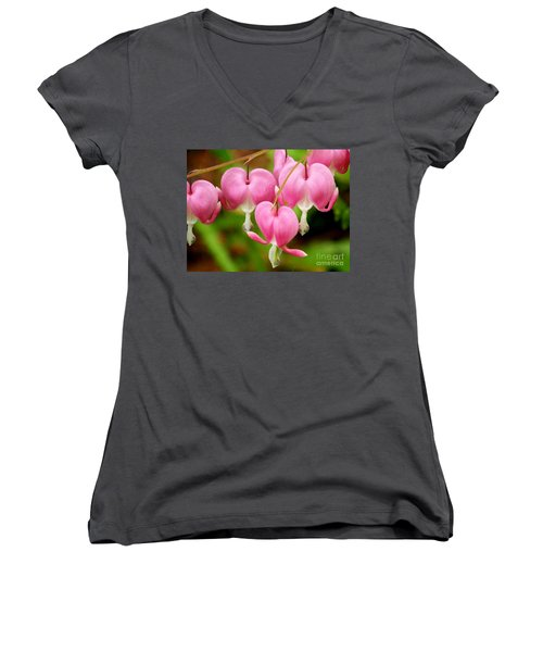 Hanging Hearts In Pink And White Women's V-Neck T-Shirt