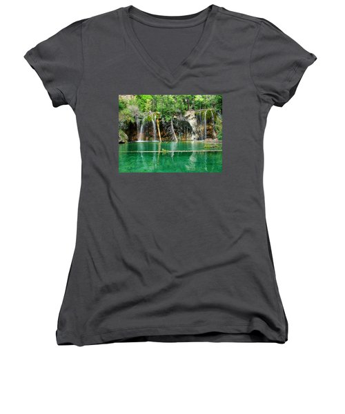 Hanging Lake 1 Women's V-Neck T-Shirt (Junior Cut) by Ken Smith