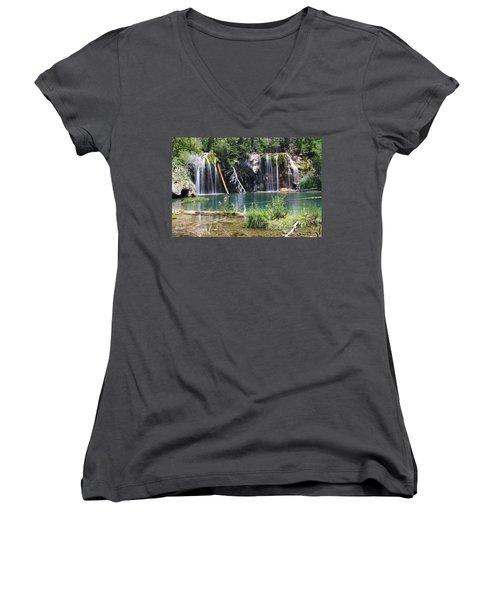 Hanging Lake Women's V-Neck T-Shirt (Junior Cut) by Eric Glaser