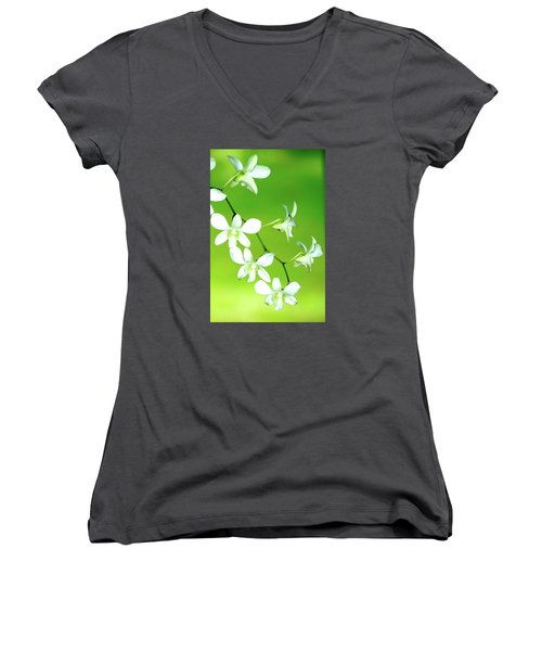 Women's V-Neck T-Shirt (Junior Cut) featuring the photograph Hanging White Orchids by Lehua Pekelo-Stearns