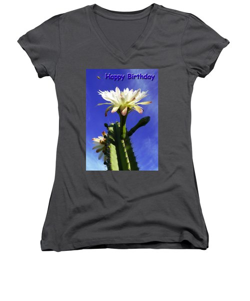 Women's V-Neck T-Shirt (Junior Cut) featuring the photograph Happy Birthday Card And Print 12 by Mariusz Kula