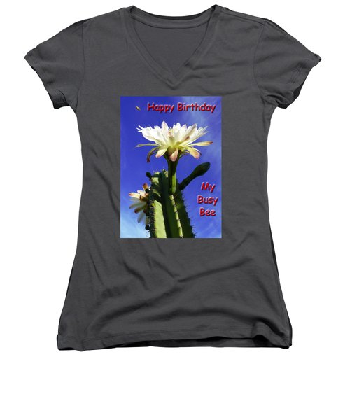 Women's V-Neck T-Shirt (Junior Cut) featuring the photograph Happy Birthday Card And Print 15 by Mariusz Kula