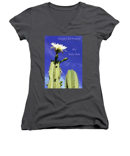 Women's V-Neck T-Shirt (Junior Cut) featuring the photograph Happy Birthday Card And Print 20 by Mariusz Kula