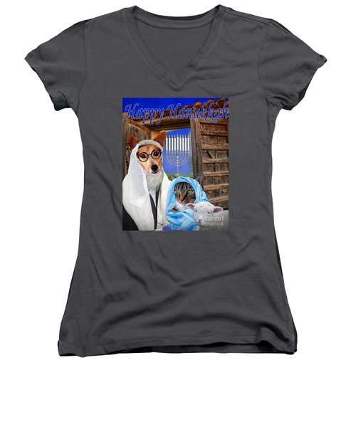 Happy Hanukkah -1 Women's V-Neck