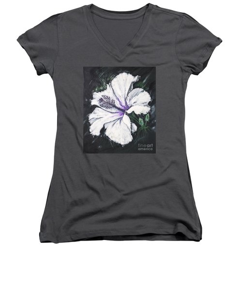 Happy Hibiscus Women's V-Neck T-Shirt