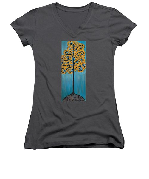 Happy Tree In Blue And Gold Women's V-Neck