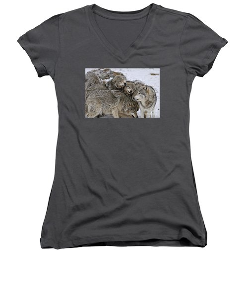 Happy Wolf Pack Women's V-Neck