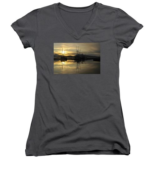 Women's V-Neck T-Shirt (Junior Cut) featuring the photograph Harbor Sunset by Cathy Mahnke