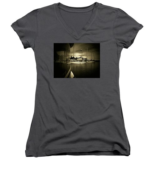 Women's V-Neck T-Shirt (Junior Cut) featuring the photograph Harbour Life by Micki Findlay