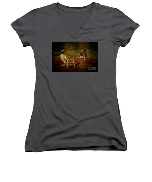 Hard Times Women's V-Neck T-Shirt (Junior Cut) by Lois Bryan