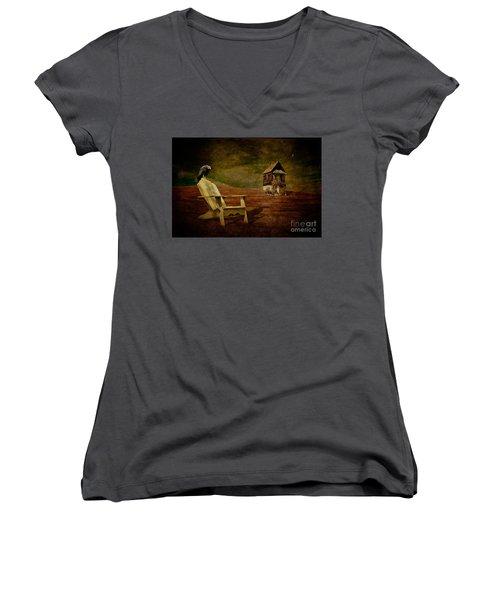 Hard Times Women's V-Neck T-Shirt (Junior Cut)