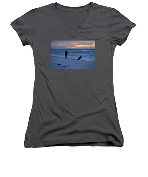Women's V-Neck T-Shirt (Junior Cut) featuring the photograph Harry The Heron Fishing With Fisherman On Navarre Beach At Sunrise by Jeff at JSJ Photography