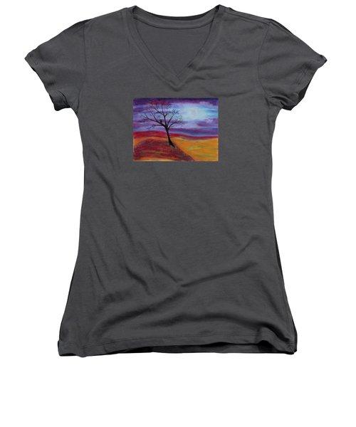 Harvest Moon 2 Women's V-Neck T-Shirt (Junior Cut) by Jeanne Fischer