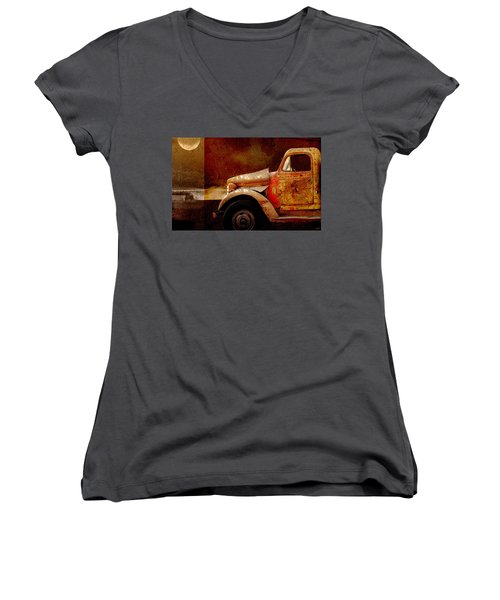 Women's V-Neck T-Shirt (Junior Cut) featuring the photograph Harvest Moon by Holly Kempe