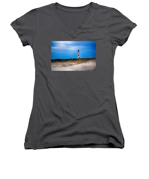 Hatteras Morning Light Women's V-Neck T-Shirt (Junior Cut) by Tony Cooper