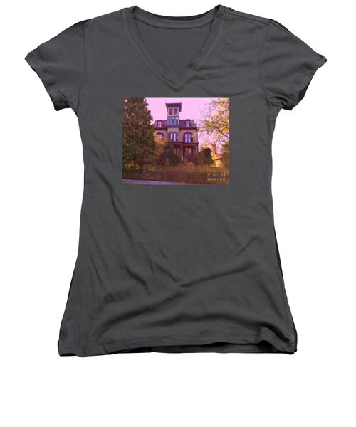 Women's V-Neck T-Shirt (Junior Cut) featuring the photograph Hauntingly Victorian 1 by Becky Lupe