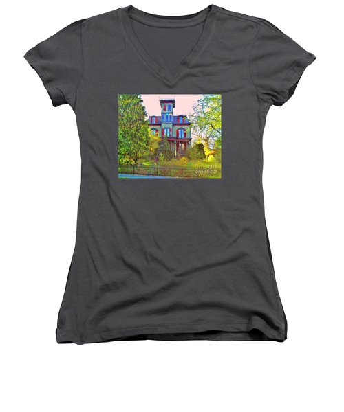 Women's V-Neck T-Shirt (Junior Cut) featuring the photograph Hauntingly Victorian  by Becky Lupe