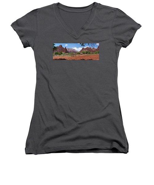 Women's V-Neck T-Shirt (Junior Cut) featuring the photograph Havasupai Village Panorama by Alan Socolik