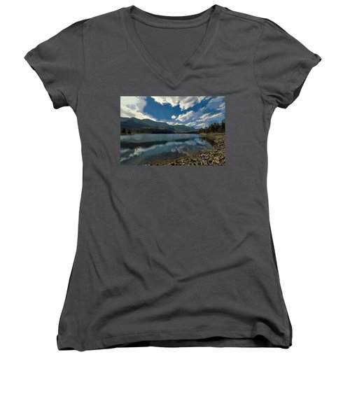 Haviland Lake Women's V-Neck T-Shirt (Junior Cut) by Jeff Kolker