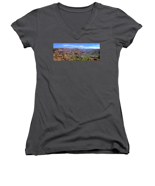 Hawaii Kauai Waimea Canyon Beautiful Panorama Women's V-Neck (Athletic Fit)