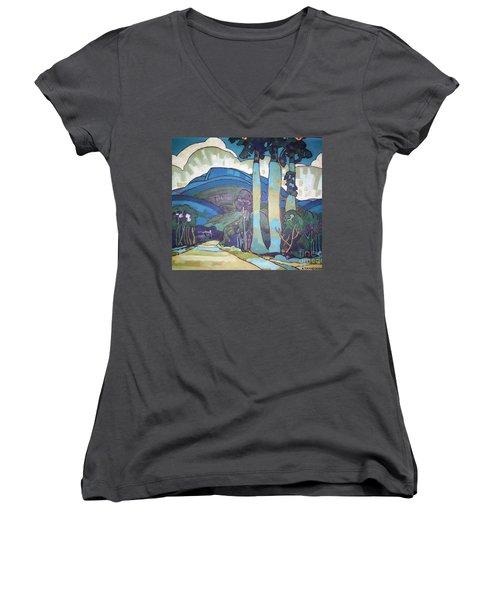 Hawaiian Landscape Women's V-Neck T-Shirt (Junior Cut) by Pg Reproductions