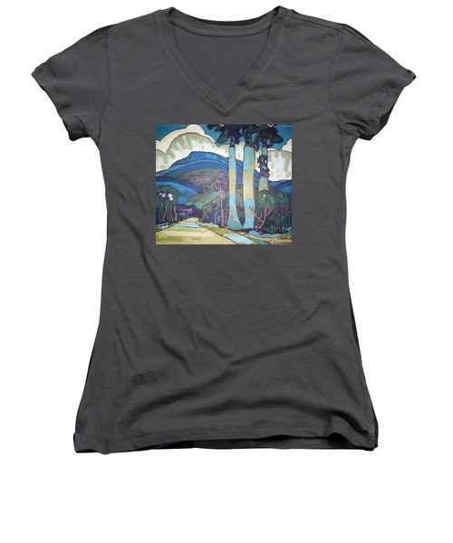 Hawaiian Landscape Women's V-Neck T-Shirt