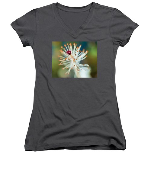 Hawaiian White Hibiscus Women's V-Neck (Athletic Fit)
