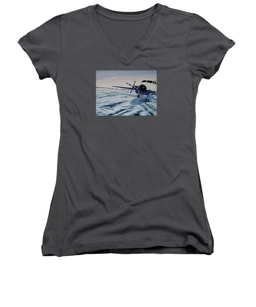 Women's V-Neck T-Shirt (Junior Cut) featuring the painting Hawker - Airplane On Ice by Marilyn  McNish