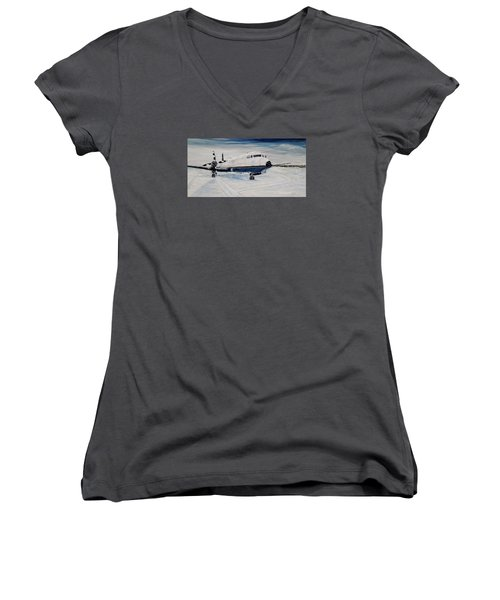 Women's V-Neck T-Shirt (Junior Cut) featuring the painting Hawker - Waiting Out The Storm by Marilyn  McNish