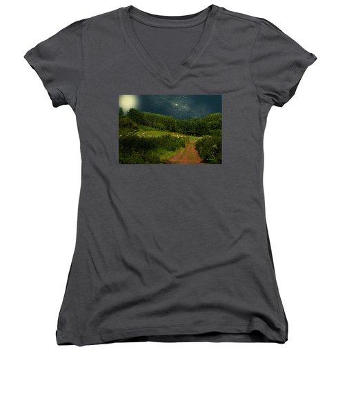 Hazy Moon Meadow Women's V-Neck T-Shirt