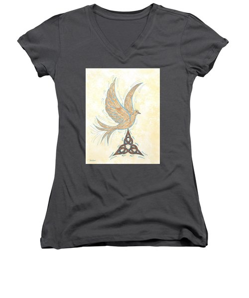 He Set Us Free Women's V-Neck T-Shirt (Junior Cut) by Susie WEBER