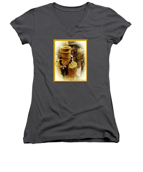 He Turned Water Into Wine Women's V-Neck T-Shirt (Junior Cut) by Ray Tapajna