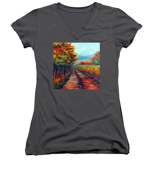 Women's V-Neck T-Shirt (Junior Cut) featuring the painting He Walks With Me by Meaghan Troup