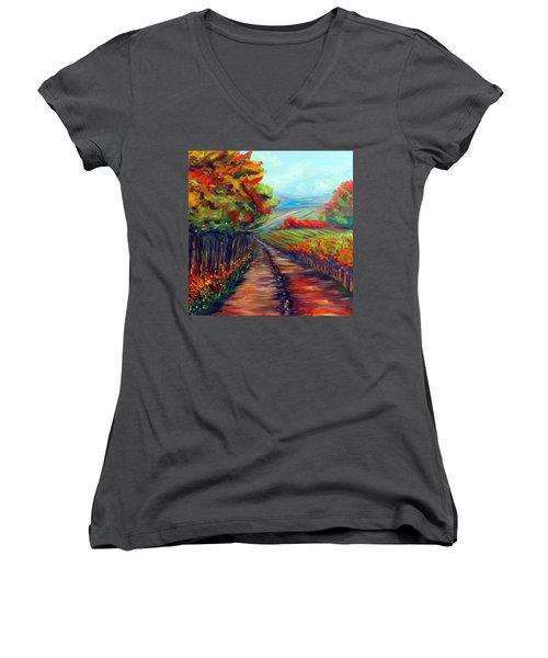 He Walks With Me Women's V-Neck T-Shirt (Junior Cut)