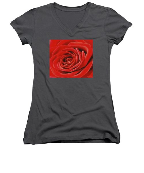 Heart Of A Red Rose Women's V-Neck