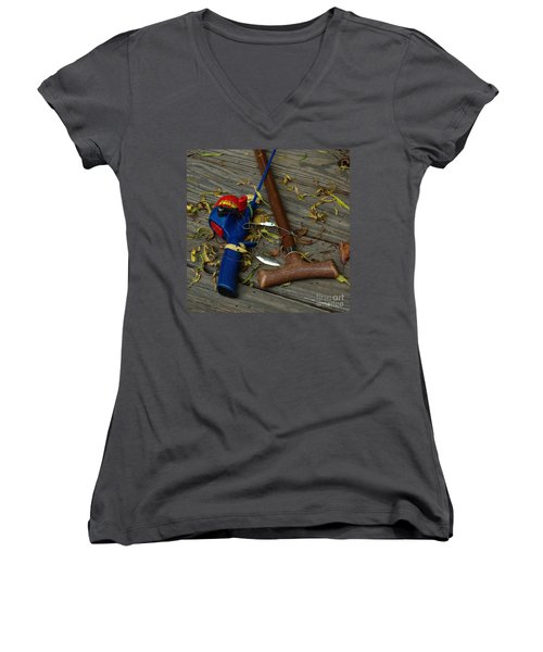 Heart Strings Women's V-Neck T-Shirt (Junior Cut) by Peter Piatt