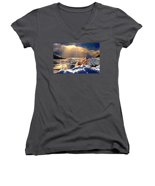 Heavenly Ascension Women's V-Neck T-Shirt (Junior Cut) by Ron Chambers