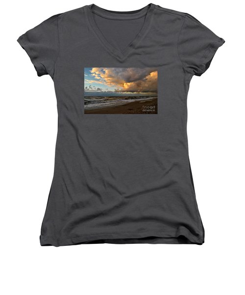 Women's V-Neck T-Shirt (Junior Cut) featuring the photograph Heavy Clouds Over Baltic Sea by Maja Sokolowska