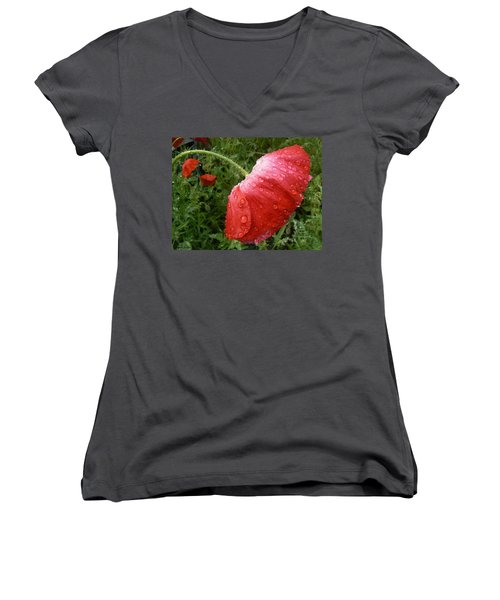 Women's V-Neck featuring the photograph Heavy Head Poppy by Barbara St Jean