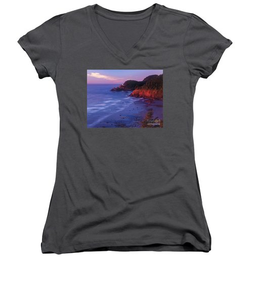 Women's V-Neck T-Shirt (Junior Cut) featuring the photograph Heceta Head Lighthouse At Sunset Oregon Coast by Dave Welling