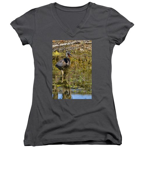 Women's V-Neck T-Shirt (Junior Cut) featuring the photograph Heimlich Please by Gary Holmes