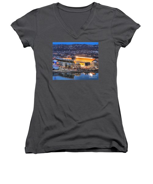 Heinz Field At Night Women's V-Neck (Athletic Fit)