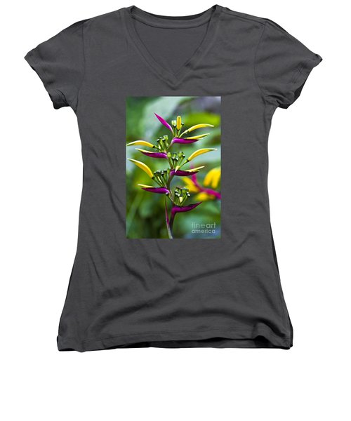 Women's V-Neck featuring the photograph Heliconia Subulata II by Heiko Koehrer-Wagner